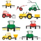 Agricultural harvesting vehicles set with tractor harvesting trailer. stock illustration