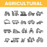 Agricultural Heavy Machinery Vector Linear Icons Set royalty free illustration