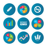Agricultural icons. GMO free symbols. Stock Images
