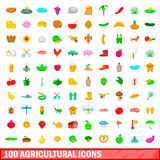 100 agricultural icons set, cartoon style Stock Image