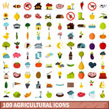 100 agricultural icons set, flat style. 100 agricultural icons set in flat style for any design vector illustration Stock Images