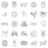 Agricultural icons set, outline style. Agricultural icons set. Outline set of 25 agricultural vector icons for web isolated on white background Stock Images