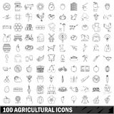 100 agricultural icons set, outline style. 100 agricultural icons set in outline style for any design vector illustration Stock Image