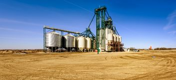 Agricultural industrial complex for cleaning and processing grai Royalty Free Stock Images