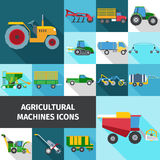 Agricultural Industry Icons Set. Agricultural industry square shadow icons set with machines and engineering flat  vector illustration Stock Photo