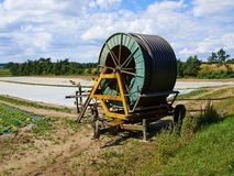 Agricultural irrigation with a water cannon Stock Photos