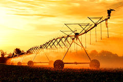 Agricultural Irrigation Waterwheel Water Sprinkler Stock Photos