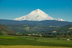 Farms and ranches in Oregon with Mount Hood in the background. Agricultural land at the base of Mount Hood in Oregon Royalty Free Stock Photos