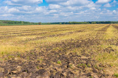 Agricultural land with primary tillage prepared to new season Royalty Free Stock Photo