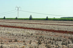 Agricultural land at rest waiting to be plowed Royalty Free Stock Images