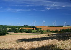 Agricultural land and wind turbines Stock Image