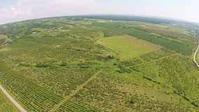 Agricultural landscape aerial stock footage