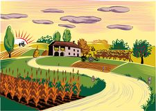 Agricultural landscape with farm and cultivated fields. Agricultural landscape with cultivated fields Stock Photos
