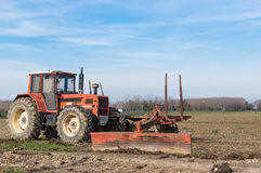 Agricultural Landscape with farm tools Royalty Free Stock Photo