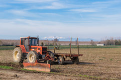 Agricultural Landscape with farm tools Royalty Free Stock Images