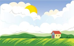 Agricultural landscape with farmer`s house. Green Field and cumulus clouds with the sun. Vector landscape illustration Royalty Free Stock Photos