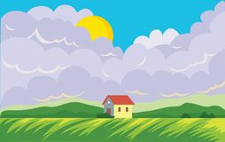Agricultural landscape with farmer`s house. Field and Cumulus clouds with the sun. Vector landscape illustration. Stock Photo