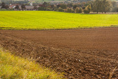 An agricultural landscape. Agricultural fields and plowed soil. Location Bad Pyrmont, Germany Royalty Free Stock Photography