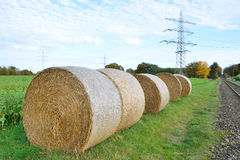 Agricultural landscape of hay bales in a field Stock Images