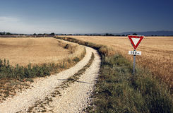 Agricultural landscape in Provence, France. Agricultural road landscape with sign in Provence, France stock photos