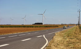 The agricultural landscape with wind turbines at Orlean France Stock Photography