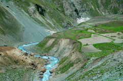 Agricultural lanscape in Northern India. With blue river and terraced fields Stock Images