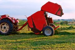 Agricultural machine for gathering hay and straw, stacker differently, harvester. Stacker differently, harvester, agricultural machine for gathering hay and Royalty Free Stock Photography