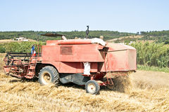 Agricultural machine harvesting Royalty Free Stock Photo