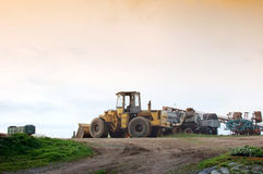 Agricultural machineries have end of work Royalty Free Stock Photo