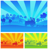 Agricultural machinery. Tractor, combine, lorry in field Stock Images