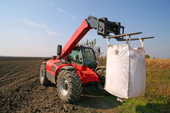 Agricultural machinery with bag of weath seeds. Agricultural forklift is transporting wheat seeds in the giant bag at the field Stock Photo