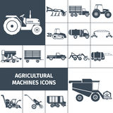 Agricultural Machinery Black White Icons Set. Agricultural machinery black white square icons set with farming equipment and transport flat isolated vector Stock Photo