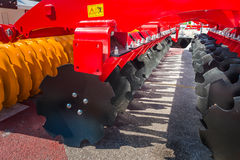 Agricultural machinery in fair Royalty Free Stock Photos