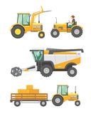 Agricultural machinery and farm vehicle vector set. Tractors, harvester, combine illustration in flat design. Agriculture summer harvesting stock illustration
