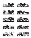Agricultural machinery in the field. Vector illustration Stock Image