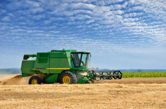 Agricultural machinery harvests of cereal crops in the field Stock Photo