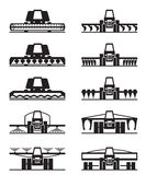Agricultural machinery icon set Stock Photo