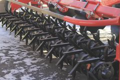 Agricultural machinery, model of cultivator at the exhibition. Agribusiness concept Stock Photo