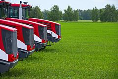 Agricultural machinery ready to cultivate the fields.  stock photography