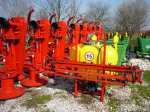 Agricultural machinery. Red rotary mowers machine,  farm Stock Photography