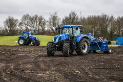 Agricultural machinery. On the rural landscape and new technologies Stock Photo