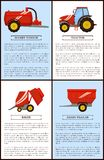 Agriculture Machinery Tractor, Grain Trailer Baler. Agricultural machinery set cartoon vector. Compact tractor and slurry tanker, grain trailer and baler, new stock illustration