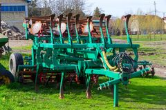 Agricultural machinery for sowing. A heavy industrial agriculture machinery Stock Photos