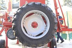 Agricultural machinery, spare wheel of industrial equipment. Agribusiness and industrial concept Stock Photography