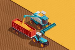 Agricultural Machines Background. Agricultural machines isometric background with grain and harvest symbols vector illustration Stock Photos