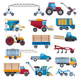 Agricultural Machines Icons Set. Agricultural and farming machines icons set with tractor combine and plough flat  vector illustration Stock Photo