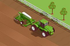 Agricultural Machines Isometric Background. With plough and soil symbols vector illustration Stock Photos