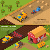 Agricultural Machines Isometric Banner Set. Agricultural machines isometric horizontal banner set with haymaking and plowing the field processes vector Royalty Free Stock Images
