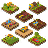 Agricultural Machines Isometric Field Set. Isometric set with isolated plates of fields and agricultural machines harvesting and people cropping vector Stock Photography