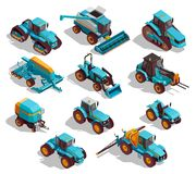 Agricultural Machines Isometric Icons Set. With tractor and sprayer isolated vector illustration Stock Photo